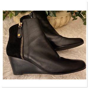 Isaac Mizrahi Live Kierra Wedge Leather Booties